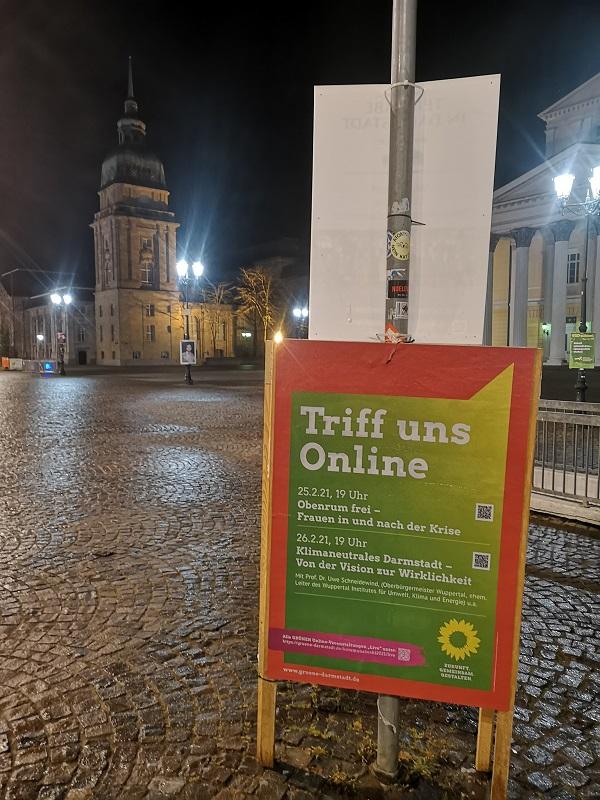 Plakatwerbung - Die Grünen - Darmstadt - Triff uns Online