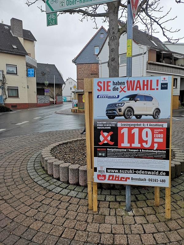Plakatwerbung - Autohaus Dörr - Brensbach - Suzuki Odenwald