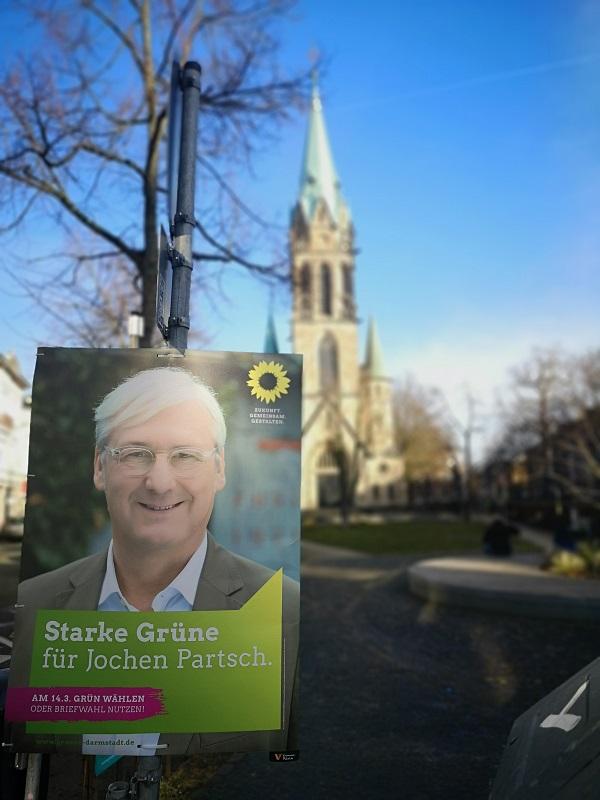 Plakatwerbung - Die Grünen Darmstadt - Kommunalwahl 2021 - Jochen Partsch