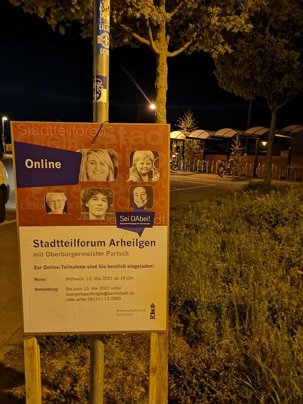 Plakatwerbung - Stadt Darmstadt - Stadtteilforum Arheilgen